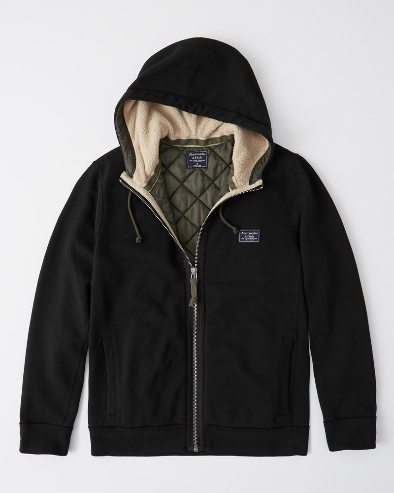 Abercrombie&Fitch (アバクロンビー&フィッチ) フード付き キルティングライナー フルジップ ジャケット (Hooded Full-Zip Jacket) メンズ (Navy) 新品