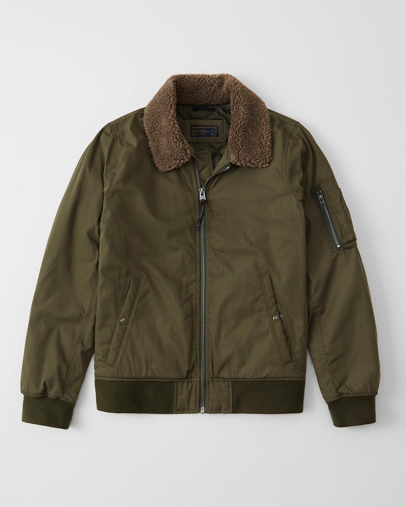 Abercrombie&Fitch (アバクロンビー&フィッチ) 裏ボア ボンバー ジャケット (Sherpa Collar Bomber Jacket ) メンズ (Olive Green) 新品