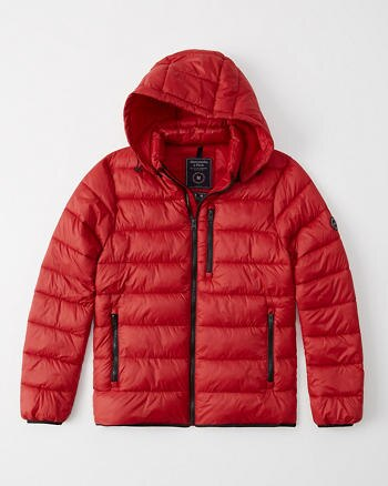 Abercrombie&Fitch (アバクロンビー&フィッチ) ライトウェイトダウンジャケット (Lightweight Packable Down Puffer) メンズ (Red) 新品