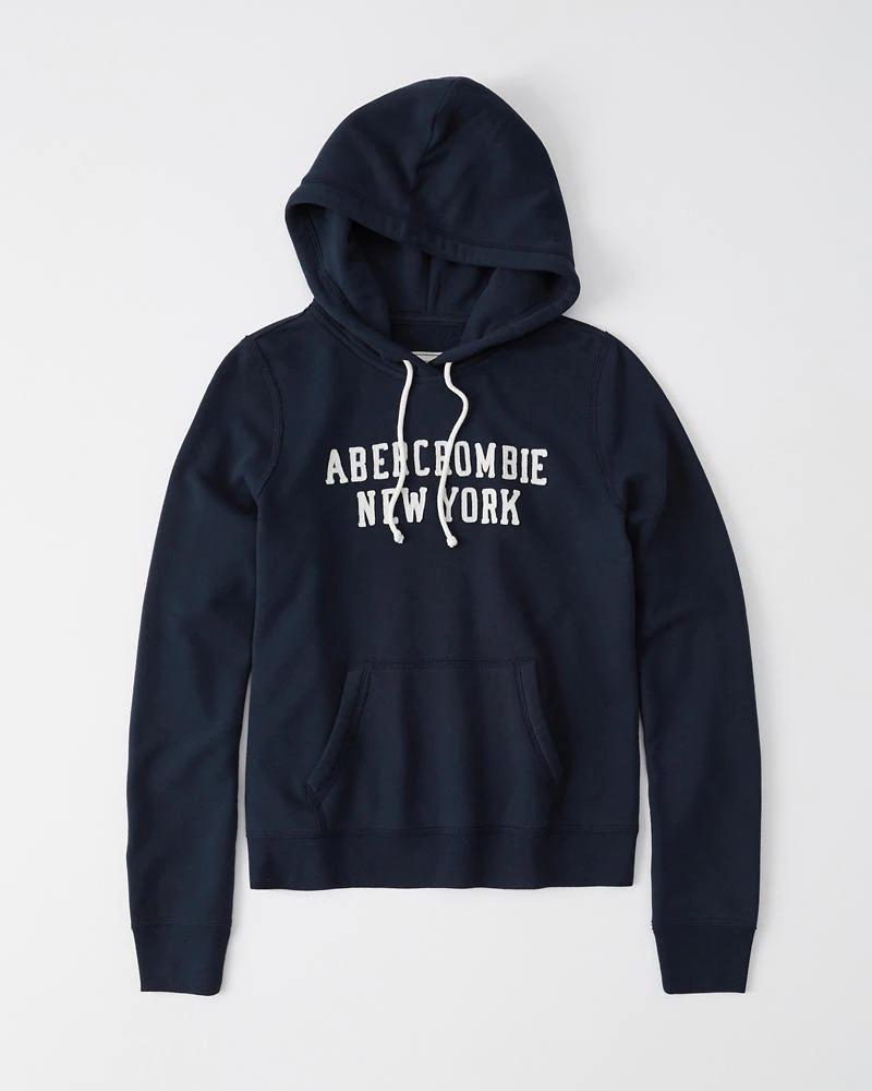 正規直営店より直接買い付け Abercrombie Fitch アバクロンビー フィッチ ロゴプルオーバーパーカー フーディー 保証 Hoodie 流行 Navy Blue レディース 新品 Logo