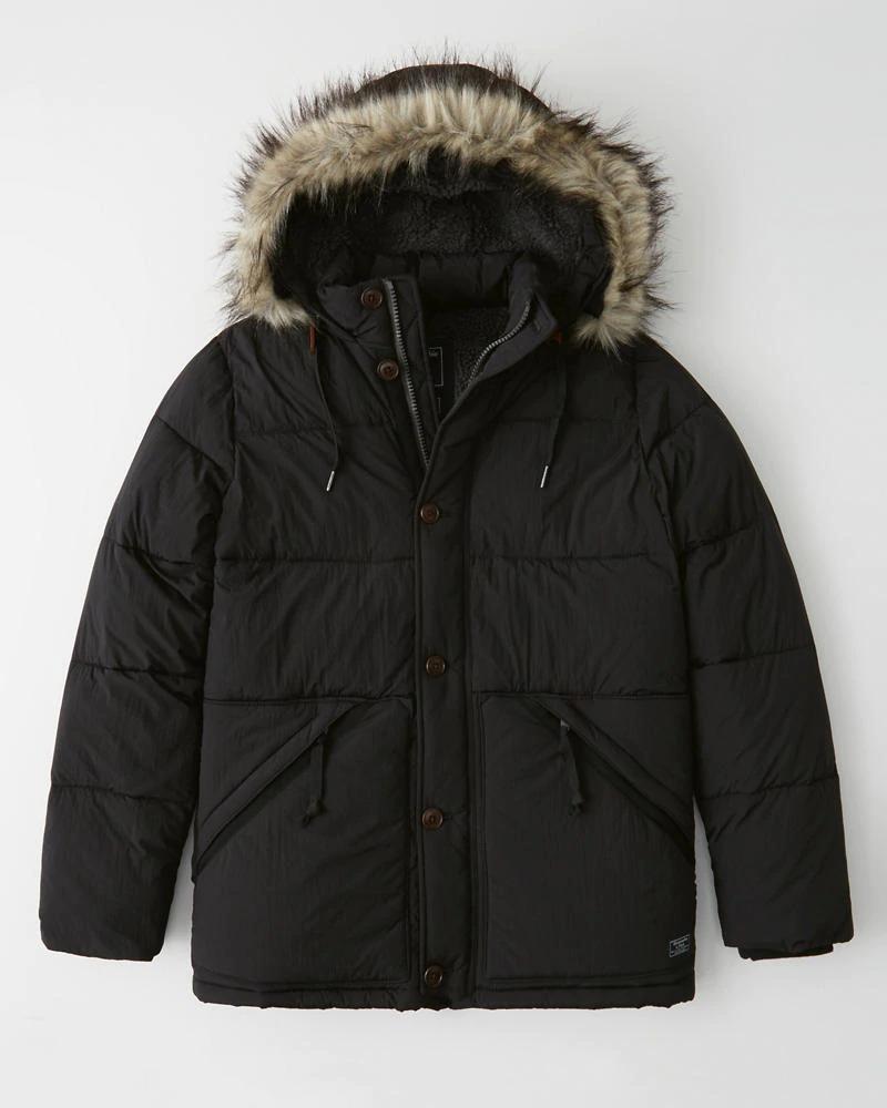 Abercrombie&Fitch (アバクロンビー&フィッチ) 取り外し可能ファー ウルトラシェルパダウン(Sherpa-Lined Ultra Puffer) メンズ(長袖)(Black) 新品