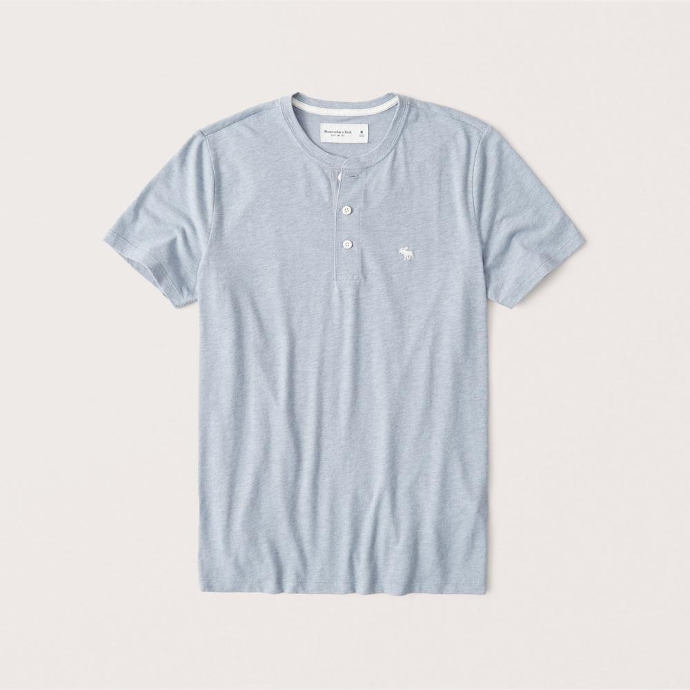 正規直営店より直接買い付け Abercrombie 高額売筋 Fitch 即出荷 アバクロンビー フィッチ ムース刺繍 ヘンリーTシャツ softAF 新品 Blue Henley Light メンズ T-Shirt