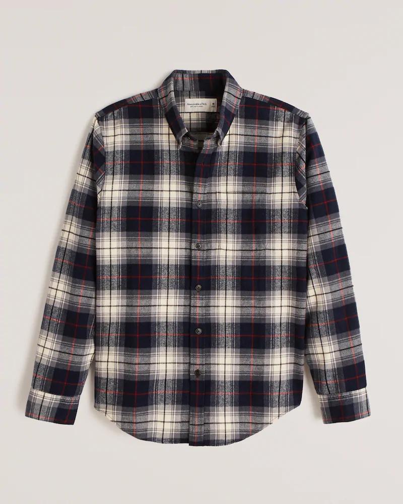 タイムセール 正規直営店より直接買い付け Abercrombie Fitch アバクロンビー フィッチ フランネルチェックシャツ ネルシャツ Flannel 新品 Shirt Navy Button-Up 定番キャンバス メンズ Blue Plaid softAF