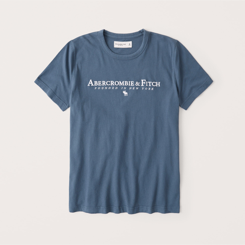 正規直営店より直接買い付け Abercrombie Fitch 信用 アバクロンビー トラスト フィッチ ロゴグラフィックTシャツ Embroidered Blue softAF 新品 Logo Tee メンズ