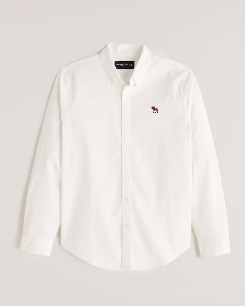 正規直営店より直接買い付け Abercrombie Fitch アバクロンビー フィッチ ムース刺繍 ストレッチ オックスフォードシャツ 新品 店 Oxford 『4年保証』 長袖 Icon Signature メンズ White Shirt