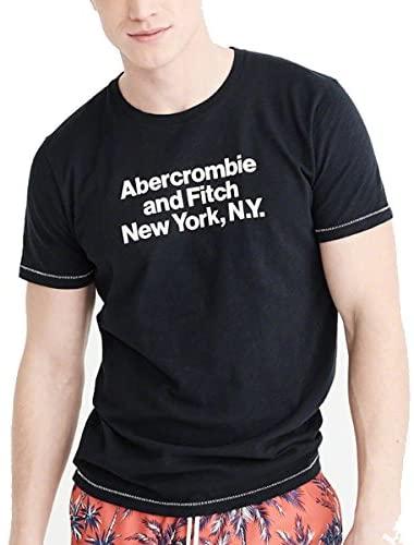正規直営店より直接買い付け 超歓迎された 大人気 Abercrombie Fitch アバクロンビー フィッチ ロゴプリントTシャツ Print メンズ Tee Navy Logo 新品