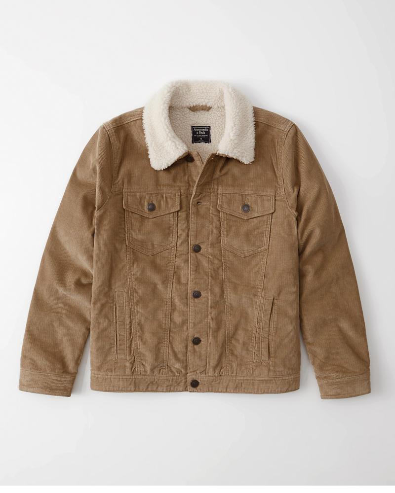 Abercrombie&Fitch (アバクロンビー&フィッチ) 裏ボア コーデュロイ ジャケット (Sherpa-Lined Corduroy Trucker Jacket) メンズ (Light khaki) 新品