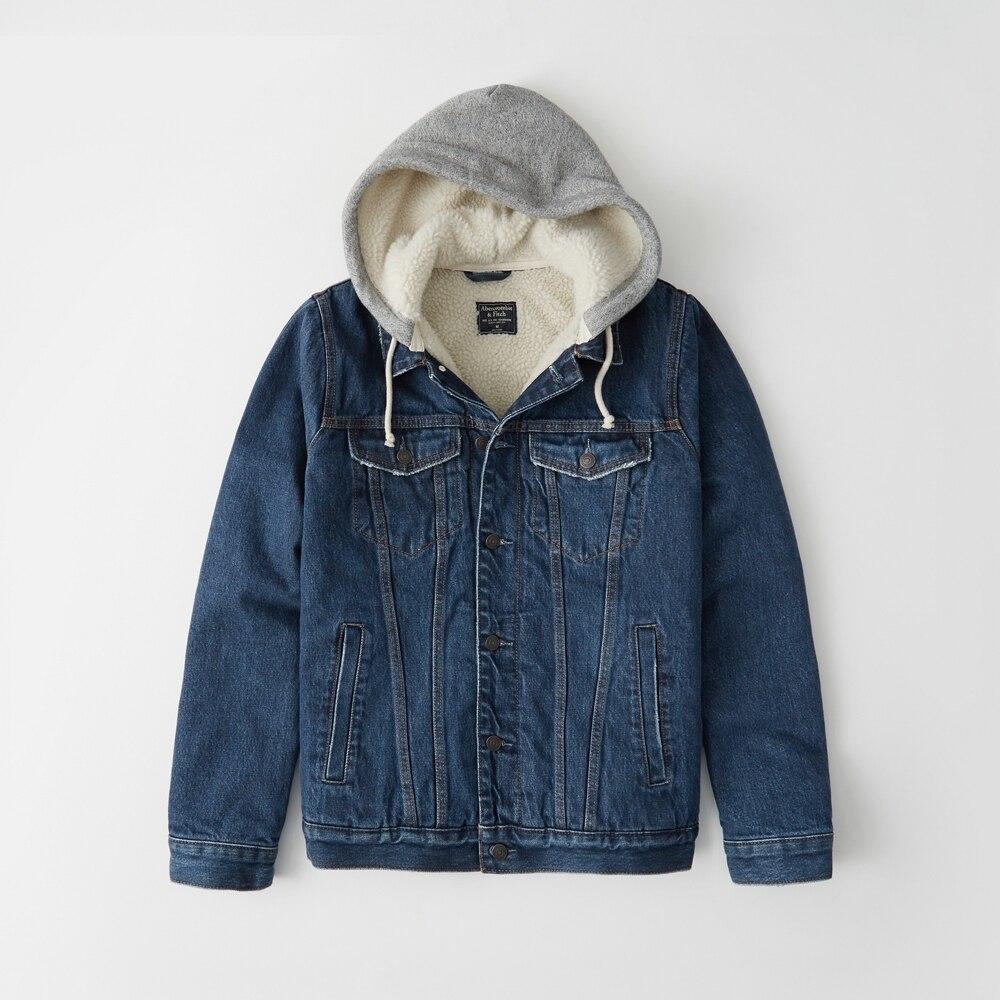 Abercrombie&Fitch (アバクロンビー&フィッチ) フード付き裏ボア デニム ジャケット (Sherpa-Lined Trucker Jacket) メンズ (Medium Wash) 新品