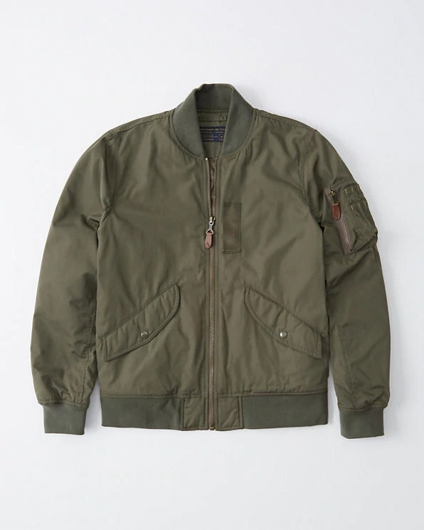 Abercrombie&Fitch (アバクロンビー&フィッチ) 正規品 ミリタリーボンバージャケット (Military Bomber Jacket) メンズ (Olive Green) 新品