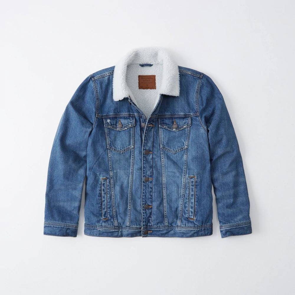 Abercrombie&Fitch (アバクロンビー&フィッチ) 裏ボア デニム ジャケット (Sherpa-Lined Denim Jacket) メンズ (Medium Wash) 新品
