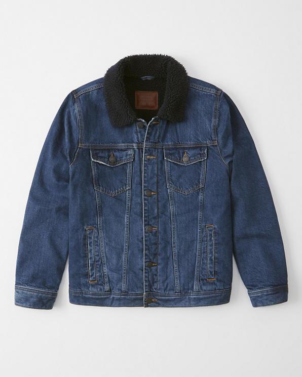Abercrombie&Fitch (アバクロンビー&フィッチ) 裏ボア デニム ジャケット (Sherpa-Lined Denim Jacket) メンズ (Medium Dark Wash) 新品