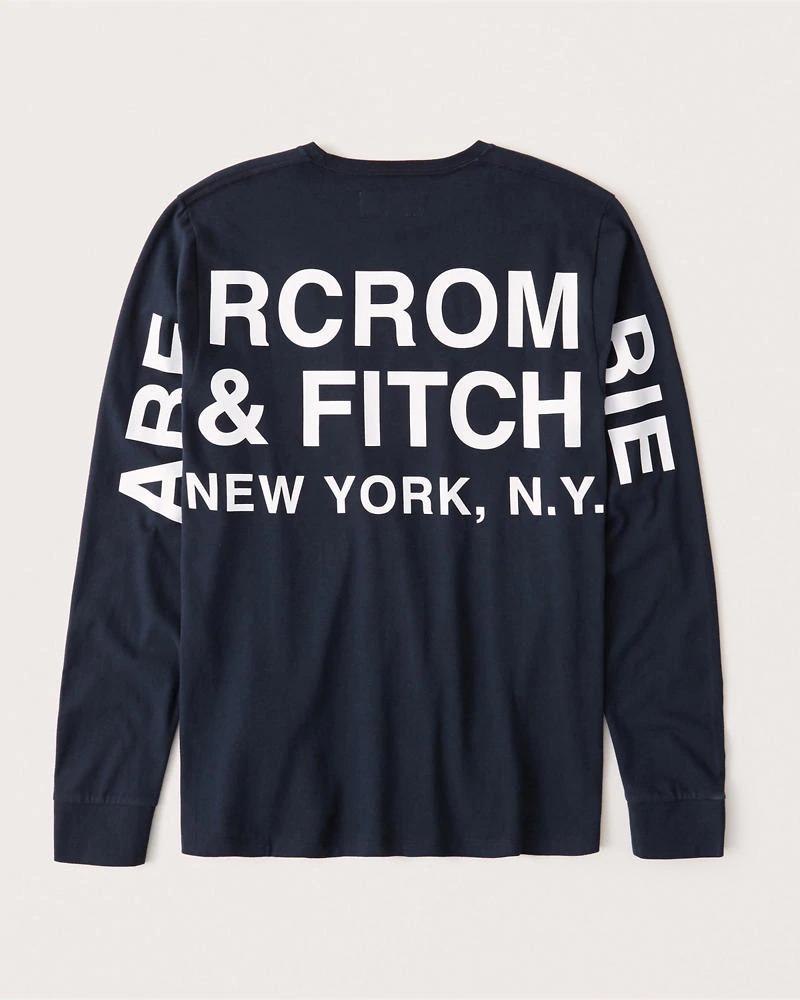 正規直営店より直接買い付け Abercrombie Fitch アバクロンビー フィッチ 正規品 バックプリント 長袖Tシャツ ロンT メンズ Logo Blue 低価格化 Tee 新品 Long-Sleeve softAF 値下げ Navy