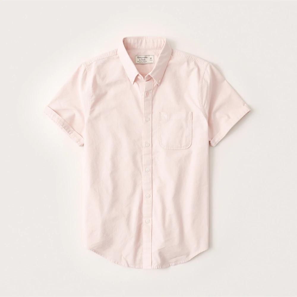 正規直営店より直接買い付け Abercrombie Fitch アバクロンビー フィッチ ポケット付半袖コットンシャツ Short-Sleeve Pink メンズ Light 新品 Button-up 正規認証品!新規格 Shirt 通販