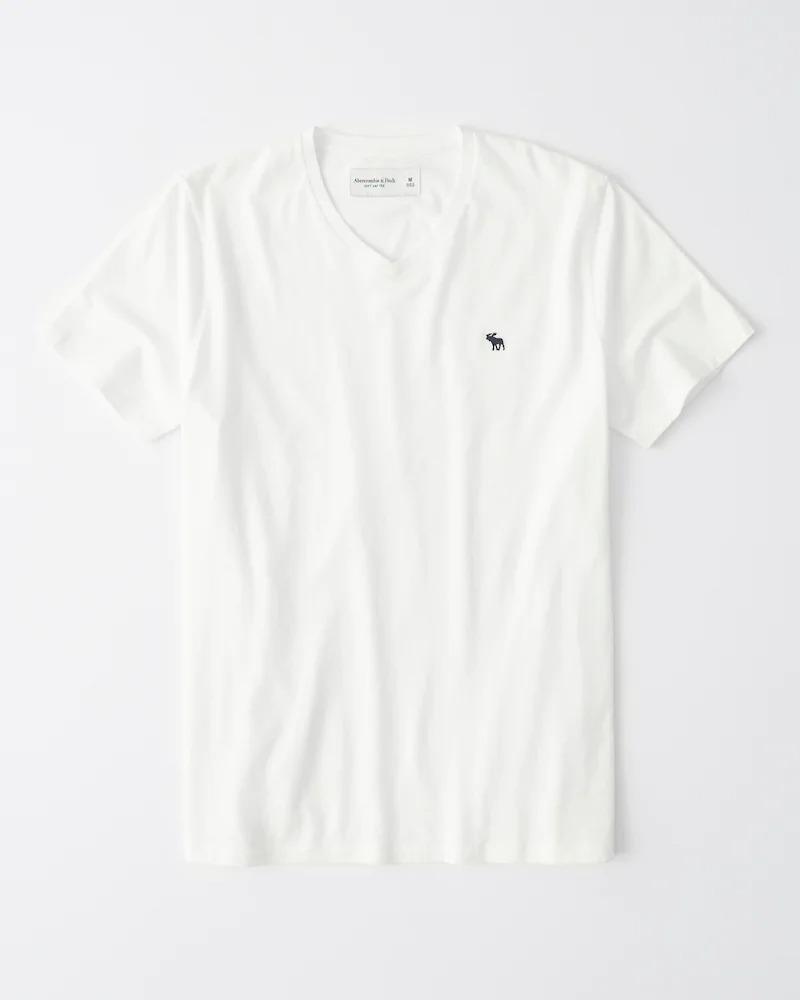正規直営店より直接買い付け Abercrombie Fitch アバクロンビー フィッチ 期間限定で特別価格 ムース刺繍 お気に入り VネックTシャツ Tee White Icon V-Neck softAF メンズ 新品