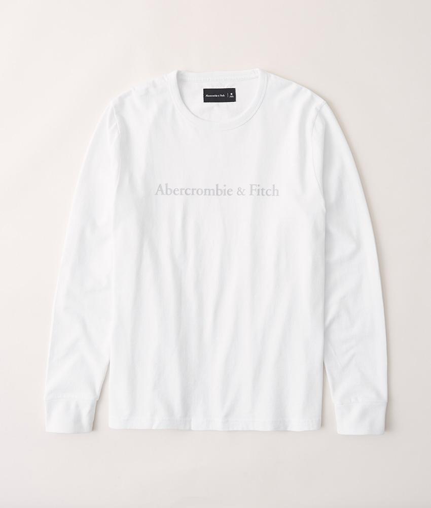 正規直営店より直接買い付け 開店祝い Abercrombie Fitch アバクロンビー フィッチ 正規品 ヘビーウェイト フロッキープリント 長袖Tシャツ Logo メンズ Long-Sleeve Tee 割引 White ロンT 新品 Heavyweight