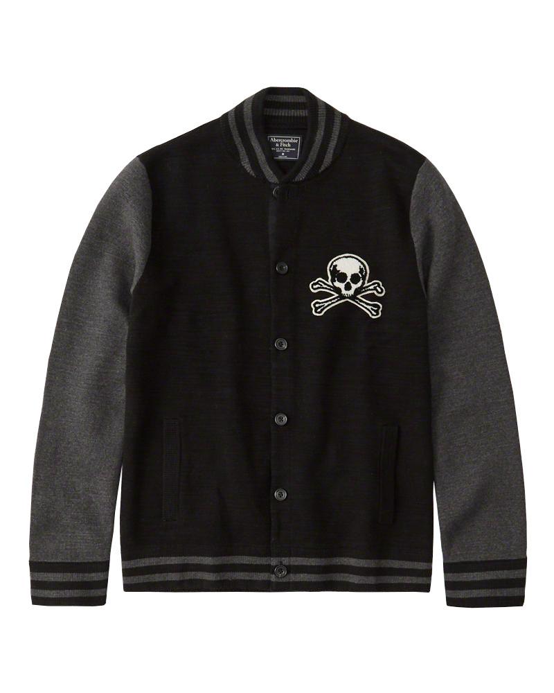 Abercrombie&Fitch (アバクロンビー&フィッチ) ボンバー セーター ジャケット (Bomber Sweater Jacket) メンズ (Black) 新品