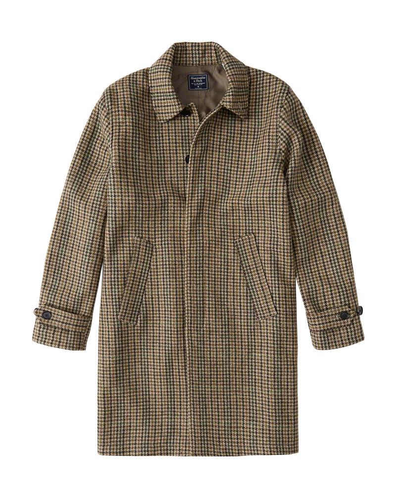 【新品】アバクロ【Mensメンズ】千鳥柄ウールコート/Tan Herringbone【The A&F Dad Coat】【Abercrombie&Fitch】【本物保証】