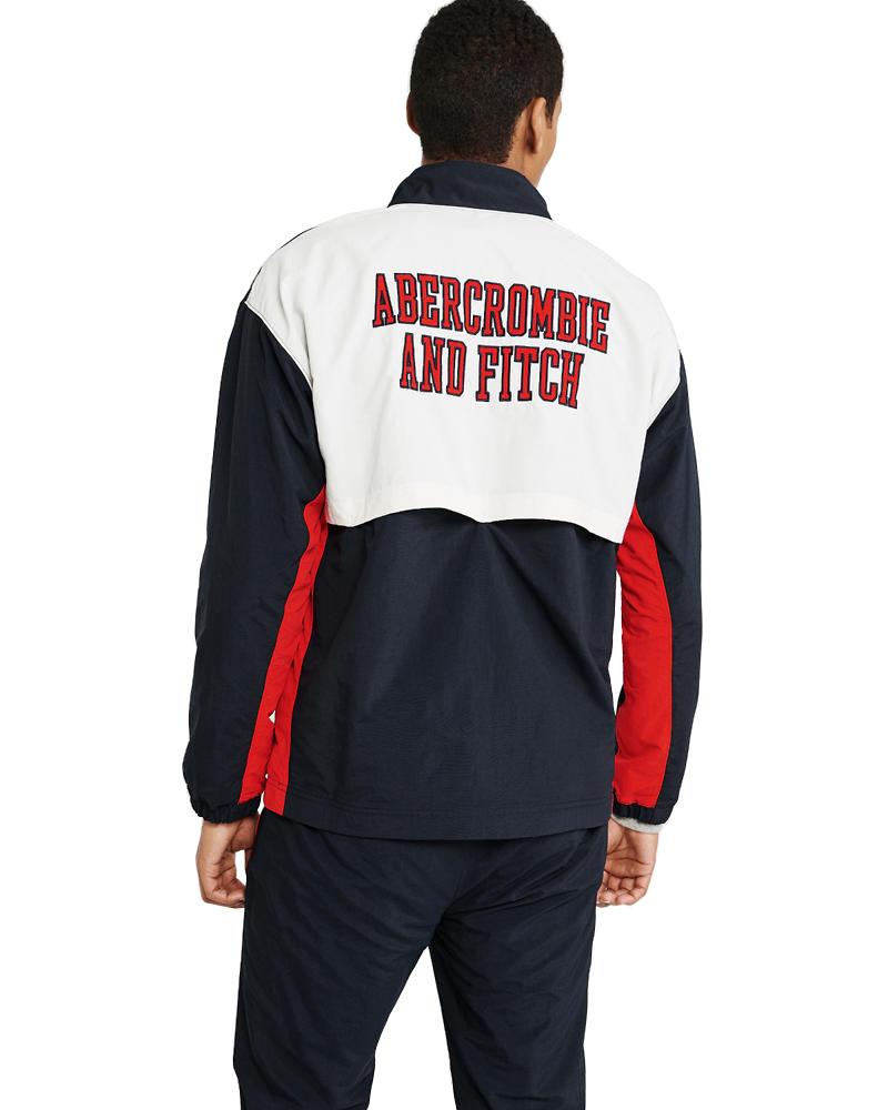 【新品】アバクロ【Mensメンズ】ハーフジップナイロンジャケット/Navy Blue【Half-Zip Nylon Jacket】【Abercrombie&Fitch】【本物保証】