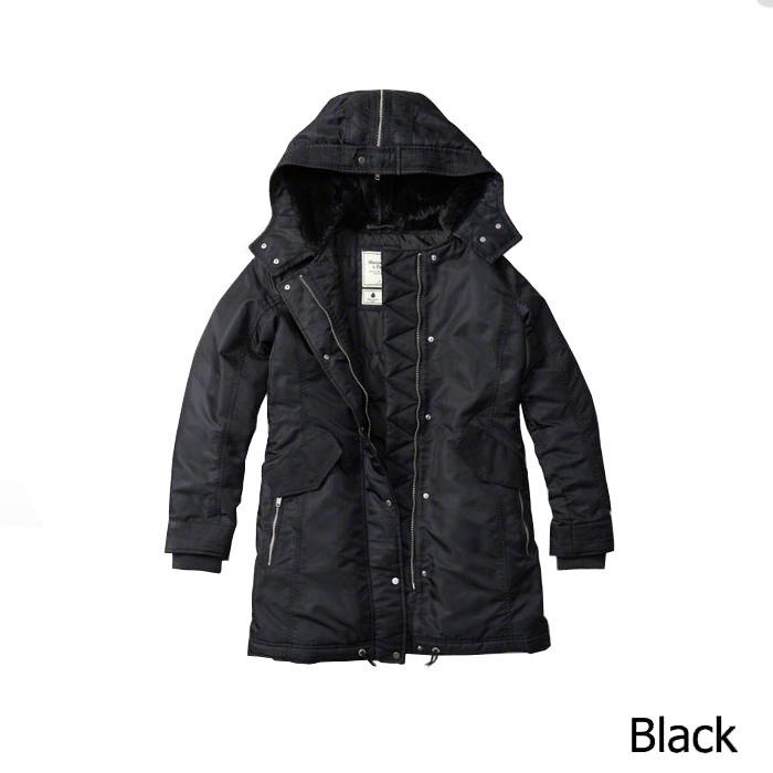 【新品】アバクロ【Womens】パファージャケット/Black【Shiny Parka Puffer Jacket 】【Abercrombie&Fitch】【本物保証】【レディース】