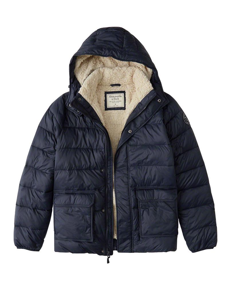 【新品】【USAモデル】アバクロ【Mensメンズ】シェルパライニング パファージャケット/Navy Blue【Sherpa-Lined Puffer Jacket】【Abercrombie&Fitch】【本物保証】