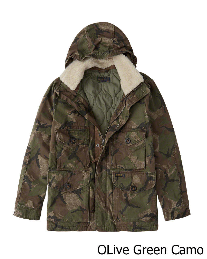 Abercrombie&Fitch (アバクロンビー&フィッチ) シェルパ取り外し可能 ミリタリーコンバットジャケット (Removable Sherpa Camo Combat Jacket) メンズ(長袖)(Olive Green Camo) 新品