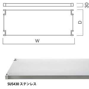 ステンレスフラットシェルフ(W1500×D450) SUS430 (1枚入) BC286A45S15