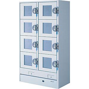 エーコー 冷蔵コールドロッカー(500円リターン式ガラス扉)<2列4段8人用> HPM-8RR9-G5