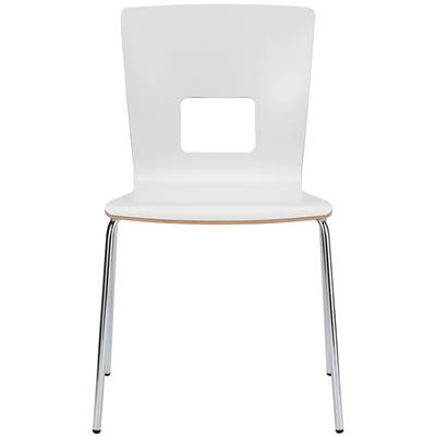 カフェ用シンプルデザインチェア クロームメッキフレーム スタッキング機能付 <ホワイト>
