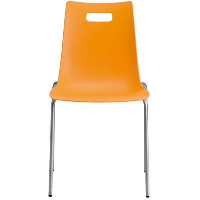 タルダチェア Talda Chair 爆売り カフェ用カラフルチェア シルバーフレーム オレンジ 売買 スタッキング機能付