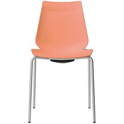 激安特価品 アノアチェア Anoa 中古 Chair カフェ用背面ハンドル付パステルチェア スタッキング機能付 オレンジ シルバーフレーム