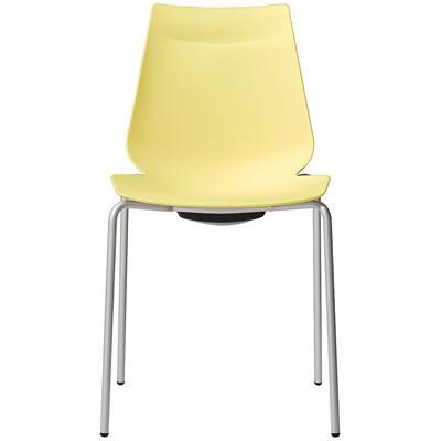WEB限定 迅速な対応で商品をお届け致します アノアチェア Anoa Chair カフェ用背面ハンドル付パステルチェア スタッキング機能付 ペールイエロー シルバーフレーム