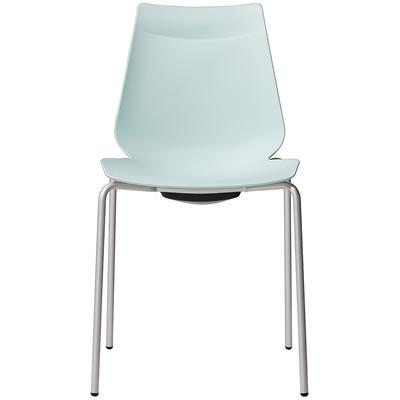 アノアチェア Anoa Chair カフェ用背面ハンドル付パステルチェア シルバーフレーム スタッキング機能付 結婚祝い ペールブルー 1年保証