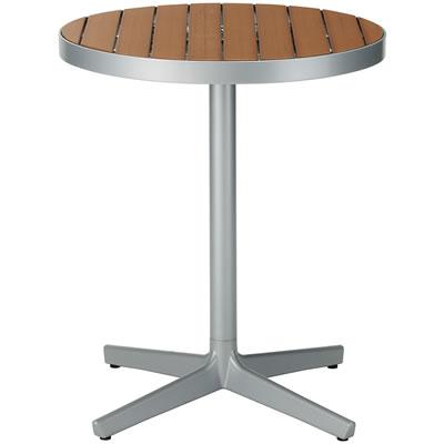 カフェテラス用スタンドラウンドウッドテーブル <ベーシックブラウン>