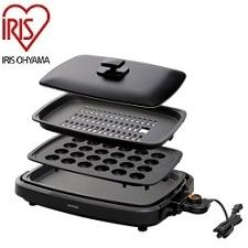 送料無料 アイリスオーヤマ 網焼き風ホットプレート APA-137-B 4年保証 ◆高品質 ブラック 3枚