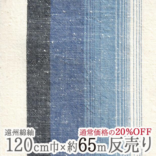 送料無料 水通し不要 【広巾大反65m乱】遠州綿紬 富士(ふじ)120cm巾