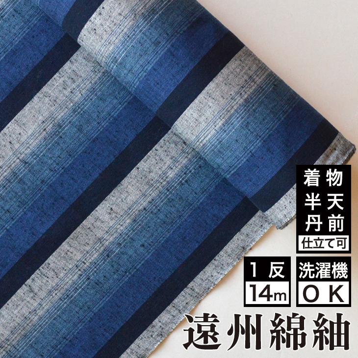 【送料無料】日本の縞 夜富士綿 着物 洗える着物 大人可愛い おしゃれな きれいめ