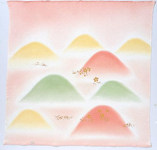 風呂敷68cm角 正絹ちりめんハケ染・山取桜 ピンク