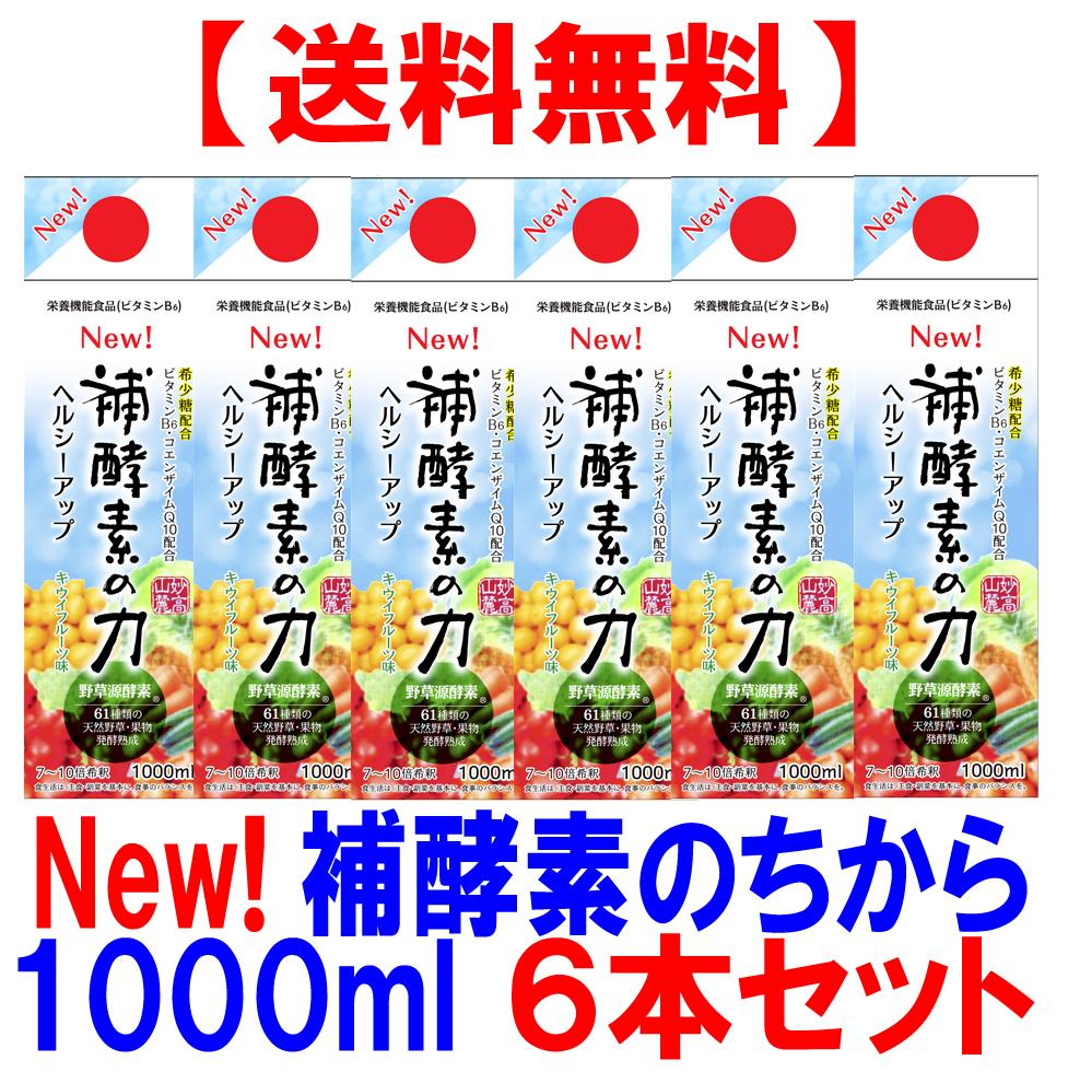 補酵素のちから キウイフルーツ味 1000ml 6本セット【送料無料】【10倍濃縮】希少糖配合 発酵彩果 フジスコ