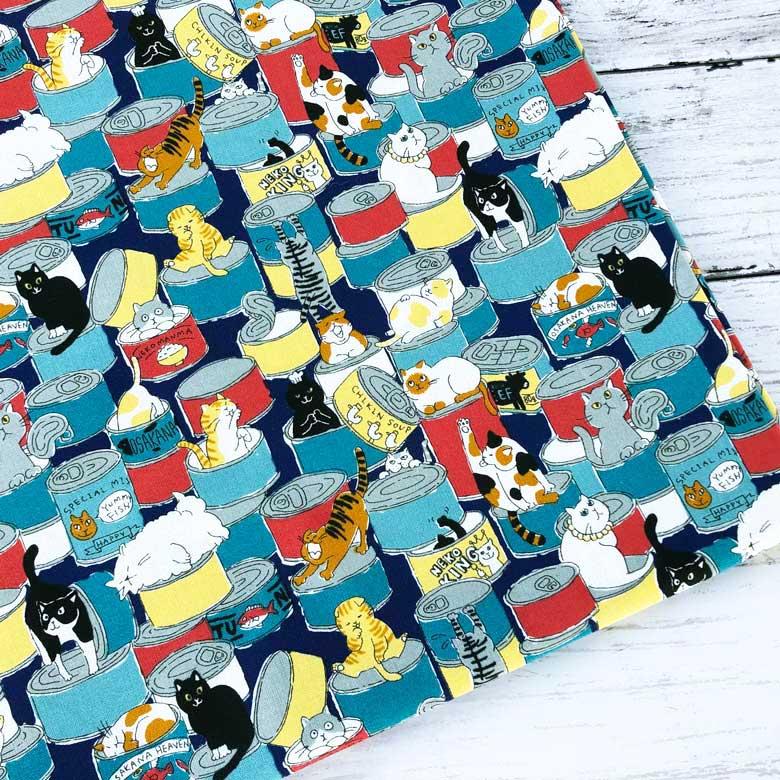 手芸 布 生地 ねこちゃん達がオシャレな薄手の綿シーチング生地 実物 10センチ単位 猫柄 保障 ネコ缶 ネイビー 猫の生地 ねこ 綿シーチング 北欧風 コットン100% 商用利用可 cat