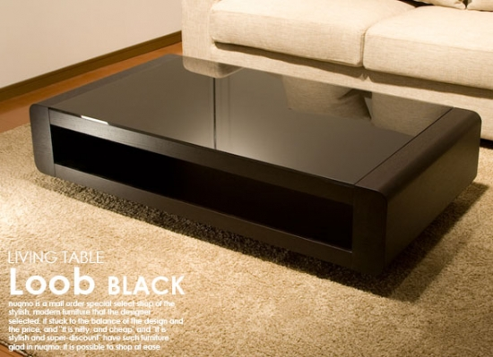 ラグジュアリーブラックガラストップテーブル Loob ブラック
