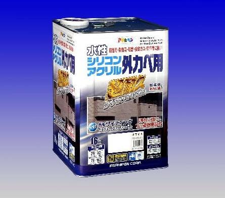 水性シリコンアクリル外かべ用 <ローラー付き> 16Kg  -アサヒペン -