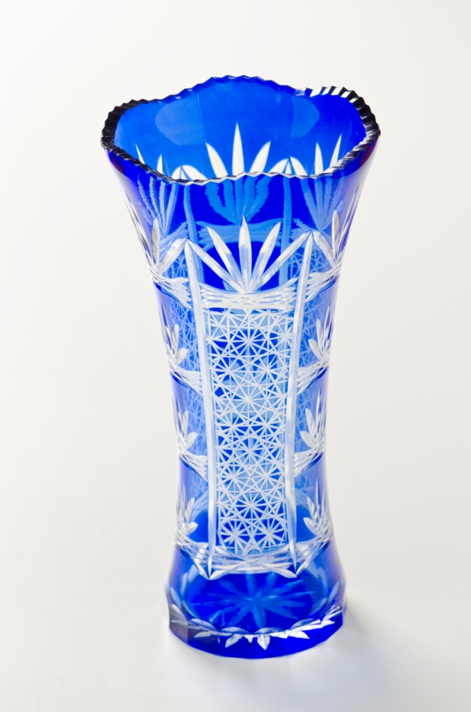 Nurimono Japan Rakuten Global Market Blue Cut Glass Vase Large