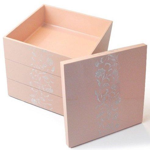 和食器 木合 5.5寸 三段重箱 アールデコ 越前漆器 ピンク お重 越前塗り 3段重箱【おしゃれ かわいい 】 【ギフト】【楽ギフ_包装選択】【楽ギフ_のし】