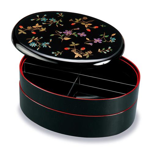 和食器 紀州漆器 オードブル 重箱 9.5寸 小判型 二段 黒塗り 花の小道 お重 盛絵 仕切り付 【ギフト・内祝い・成人内祝い・結婚内祝い・新築祝い・お返し】
