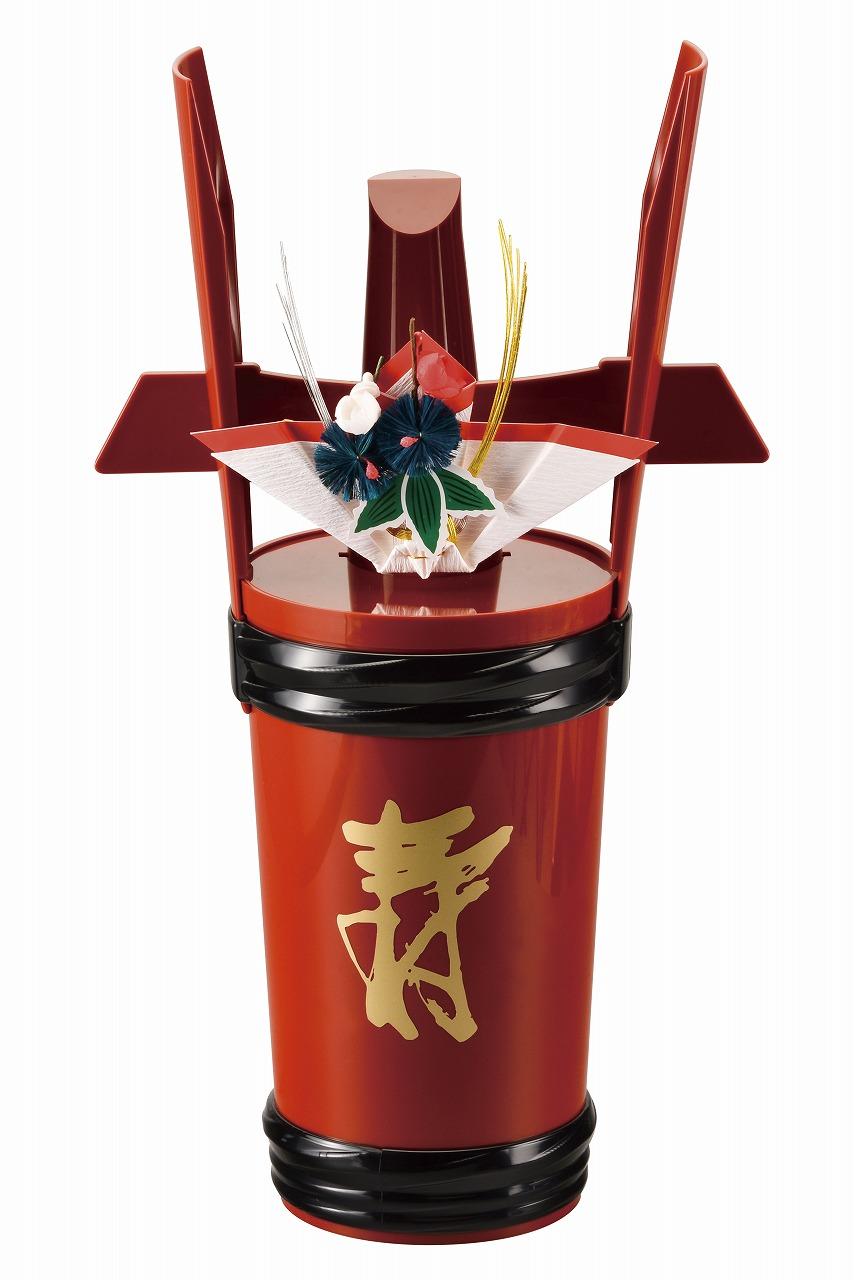 祝儀の調度品 角樽 一升瓶用 公式 寿 祝 会津塗り 春の新作 酒器 会津漆器 正月 朱