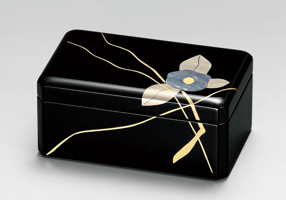 木製 越前漆器 アクセサリーBOX 漆手塗り 黒塗り 貝椿 手描き蒔絵 越前塗り うるし塗り【ギフト】【楽ギフ_包装選択】【楽ギフ_のし】