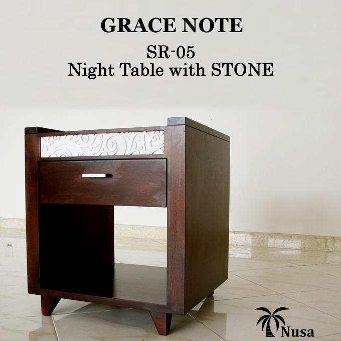 ラック サイドテーブル ナイトテーブル アジアン家具 バリ家具 木製 天然木 グレイスノート 石彫り 棚 電話台 ストーンカービングナイトテーブル