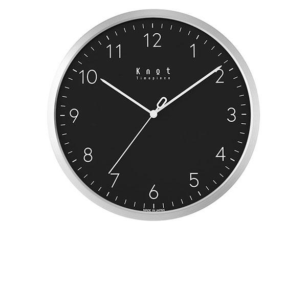 Knot × SEIKO カスタマイズ掛け時計 あす楽対象外 文字入れ不可 アラビア数字インデックス ブラック×シルバー 27cm | ノットクロック CLOCK Arabic スイープセコンド 静かな秒針 日本製 壁掛け時計 音がしない おしゃれ