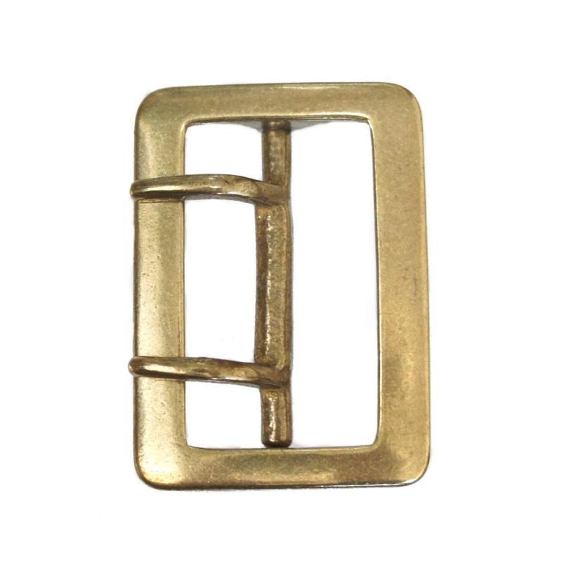 長方形バックル 50-52mm幅 真鍮ブラス製 レクタングル 海外限定 ダブルピン メーカー在庫限り品 1950s ハンドメイド レザークラフト バックル交換に ビンテージ ギャリソンスタイル オールド