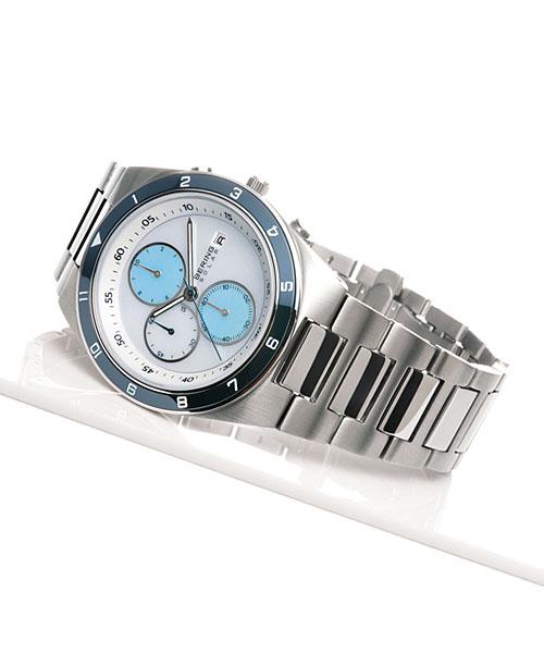 白令BERING人手錶SOLAR太陽能計時儀金屬皮帶34440-707|手錶白令手錶手錶正規的物品